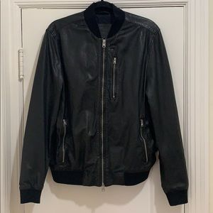MENS ALLSAINTS Kino Leather Bomber Jacket